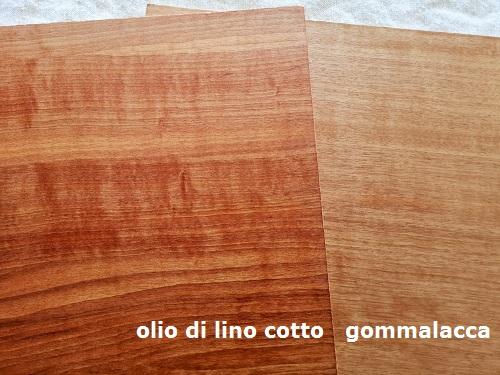 confronto tra olio di lino cotto e gommalacca