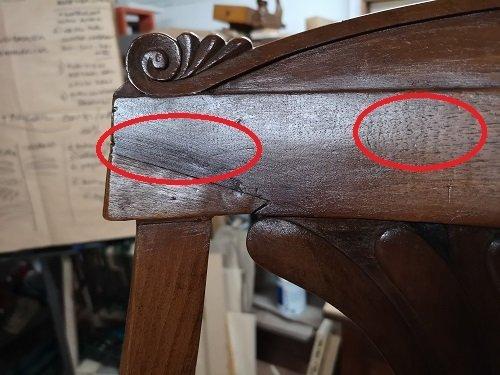 Il restauro di una seggiola dell'800.