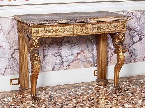 Consolle Con marmo broccatello di Siena.